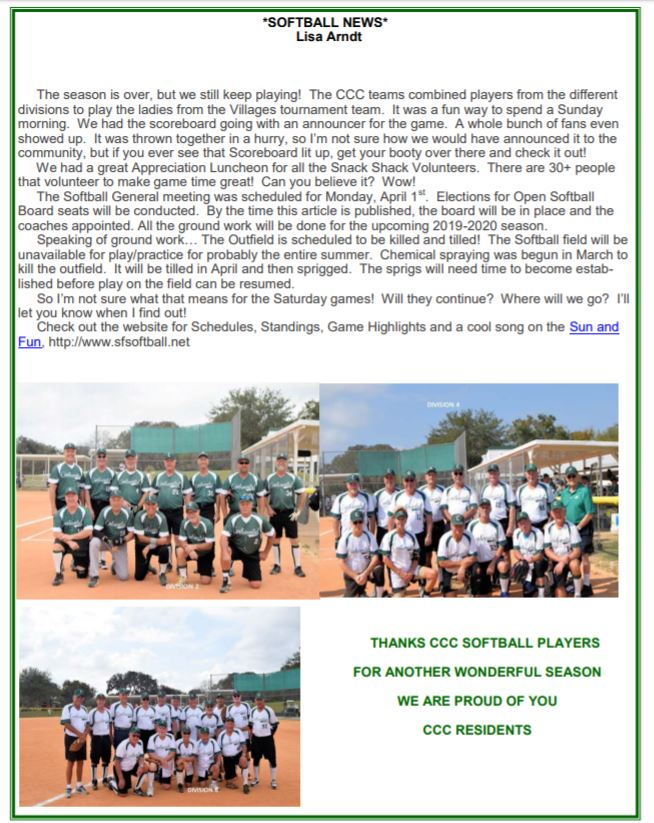 april 2019 softball news